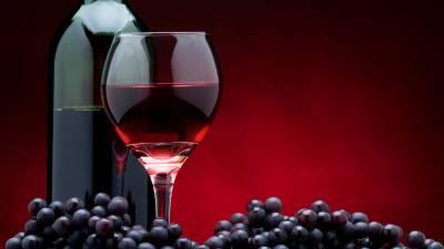 Бутылка вина и голубика